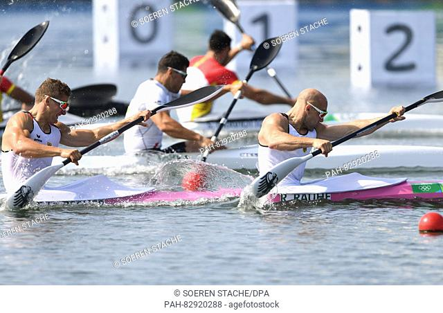 Ronald Rauhe (R) and Tom Liebscher of Germany during the Men's Kayak Double 200m final of the Canoe Sprint events of the Rio 2016 Olympic Games at Lagoa Stadium...