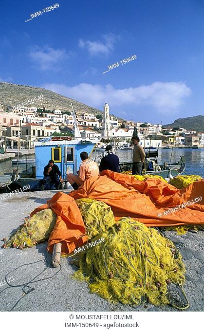Halki Island of the Dodecanese Chora, fishboat, fishermen, fishing nets