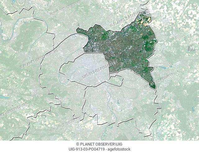 Departement of Seine-Saint-Denis, France, True Colour Satellite Image