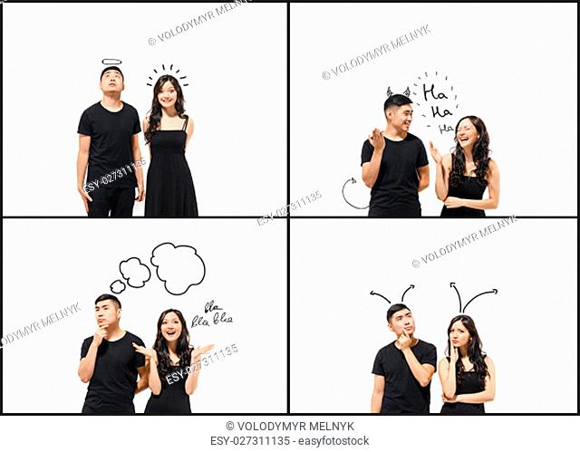 The Collage from images of pensive Korean couple isolated on white background