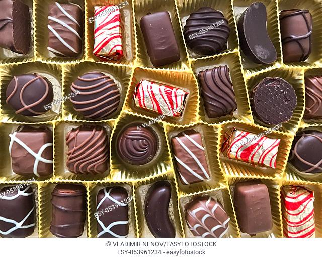 Close-Up Of Assorted Chocolate Pralines