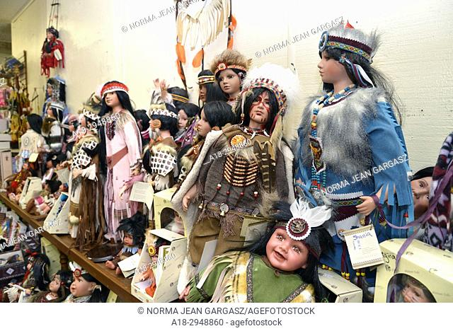 Dolls depicting Native Americans, or Indians, are for sale at The Thing, a travel service station and souvenir shop along Interstate 10, near Willcox, Arizona