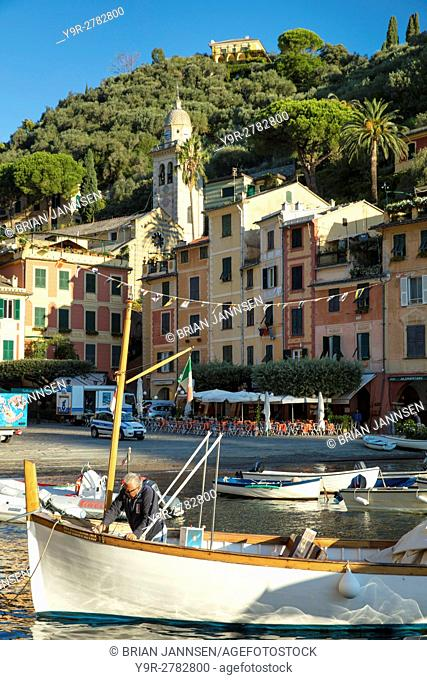Early morning in the tiny harbor town of Portofino, Liguria, Italy