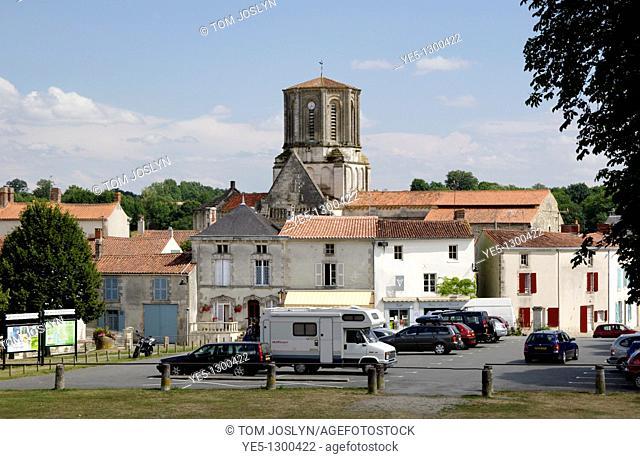View towards Notre Dame church, Vouvant , Pays de la Loire, Vendee , France