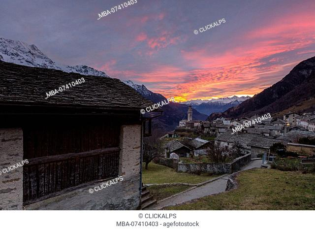 Apine village of Soglio at sunset, Bregaglia Valley, Maloja Region, Canton of Graubunden, Switzerland