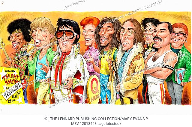 Jimi Hendrix Mick Jagger Elvis Presley David Bowie Bob Marley John Lennon Michael Jackson Stock Photo Picture And Rights Managed Image Pic Mev 12018448 Agefotostock