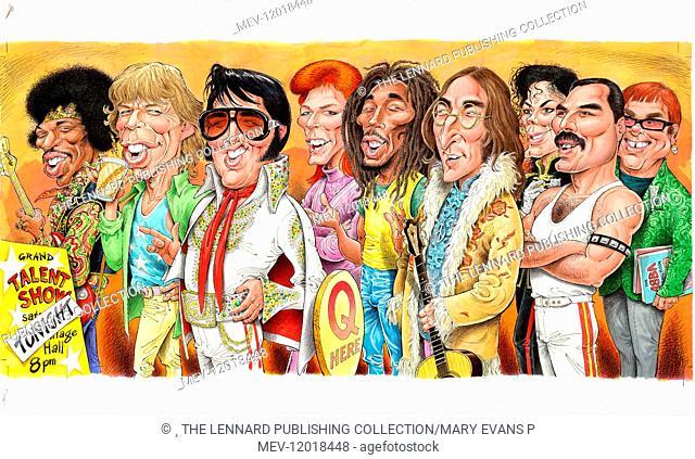 Jimi Hendrix, Mick Jagger, Elvis Presley, David Bowie, Bob Marley, John Lennon, Michael Jackson, Freddie Mercury, Elton John - Rock Musicians