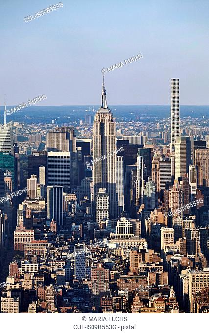 High angle view of Empire State building from One World Trade Observatory, New York City, USA