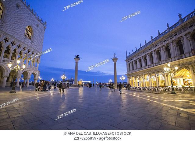 Venice, Veneto, Italy : Twilight at St Marks square
