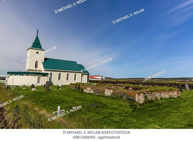 Exterior view of Reynihlíð Church, spared from lava flow named Mývatnsfire in the year 1729, Iceland