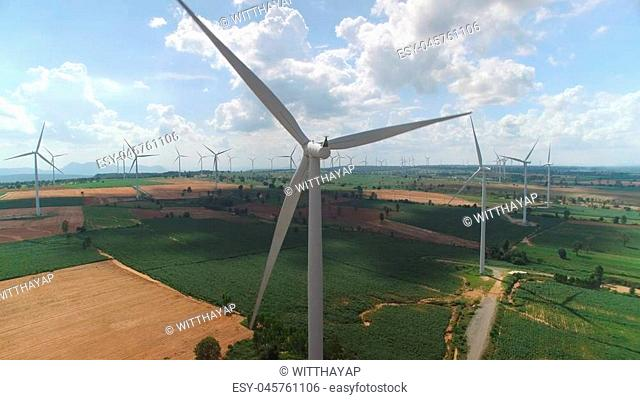 Wind Farm with blue sky in Thailand