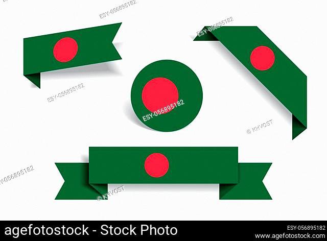 Bangladeshi flag stickers and labels set. Vector illustration