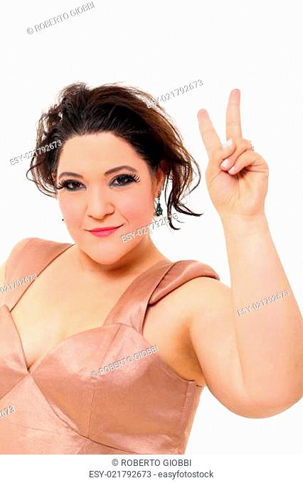 Elegant plus size woman doing victory sign