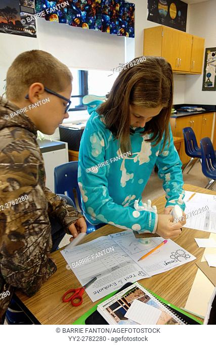 6th Grade Students Working on Project, Wellsville, New York, USA