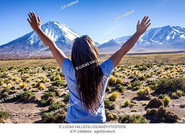 Andes Mountains,volcanoes Licancabur and Juriques, Altiplano, Puna, Atacama desert. Region de Antofagasta. Chile