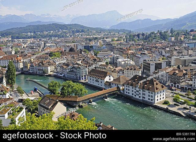 View from the Musegg wall to the old town, river Reuss, Lucerne, Switzerland, Europe