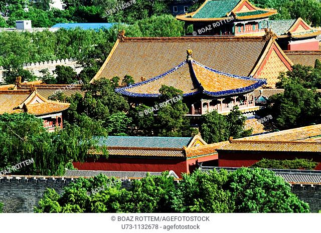 View of the roof tops in the forbidden city in Beijing, China