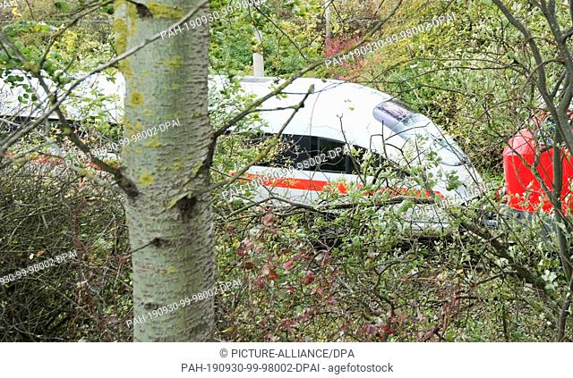 30 September 2019, Lower Saxony, Wolfsburg: A Deutsche Bahn diesel locomotive towed an ICE after it had crashed into a tree on the tracks