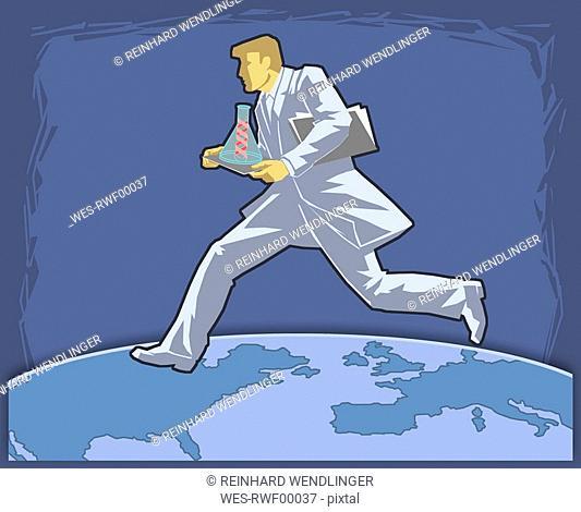 Scientist running