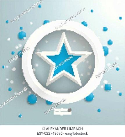 Blue Star White Ring Blue Bubbles