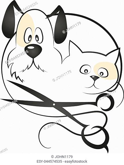 Cat and dog haircut silhouette vector