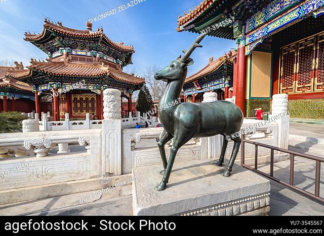 Sculpture in front of main hall of Shouhuang - Palace of Imperial Longevity in Jingshan Park in Beijing, China
