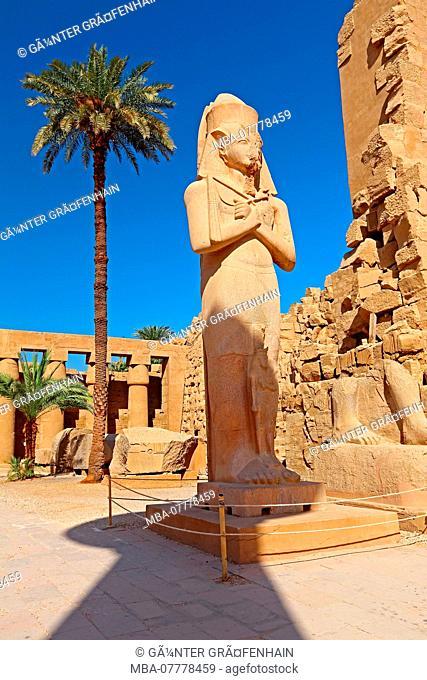 Temple of Karnak with the statue of Ramses II, Karnak near Luxor, Upper Egypt, Egypt