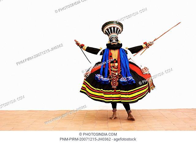 Close-up of a man kathakali dancing