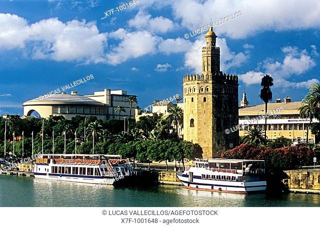 Sevilla: Gold tower, as seen from Guadalquivir river