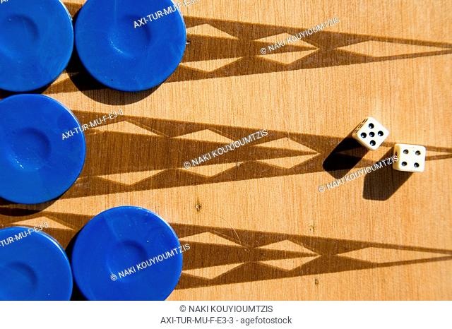 Backgammon board and dice in the sunshine, Close Up