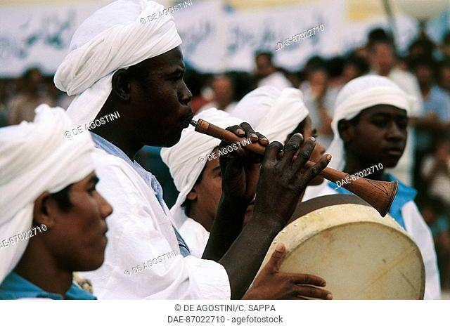 Musicians during the twenty-fifth anniversary of the Independence Day celebrations, El Oued, Algeria