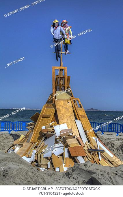 HDR image of the bonfire on the beach at Los Alcazares to celebrate the fiesta of San Juan, Murcia Spain