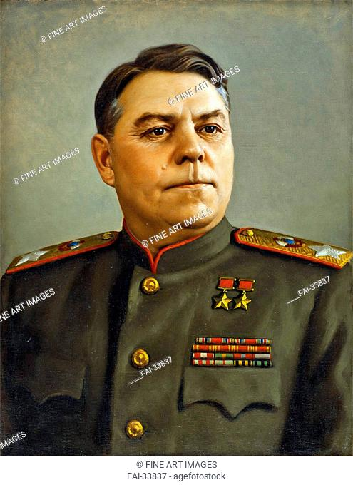 Portrait of Marshal Aleksandr Vasilevsky (1895-1977) by Laktionov, Alexander Ivanovich (1910-1972)/Oil on canvas/Soviet Art/1947/Russia/State Tretyakov Gallery