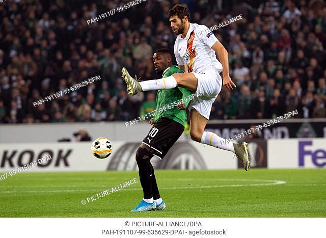 07 November 2019, North Rhine-Westphalia, Mönchengladbach: Soccer: Europa League, Borussia Mönchengladbach - AS Rome, Group stage, Group J