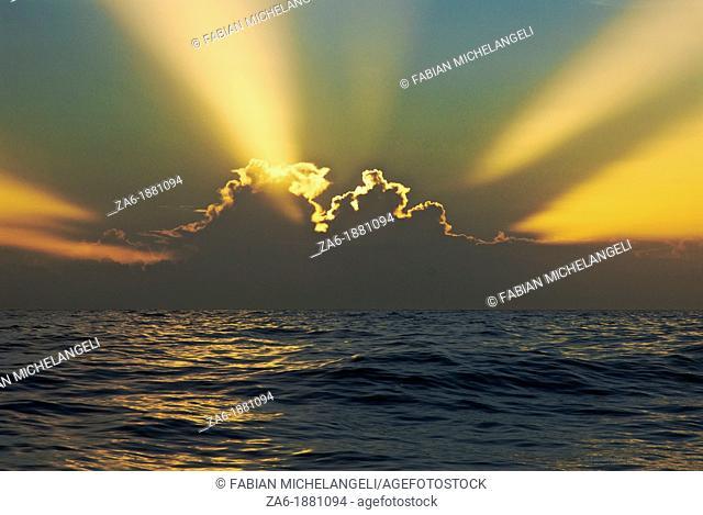 Sunrise at sea on the eastern coast of Venezuela