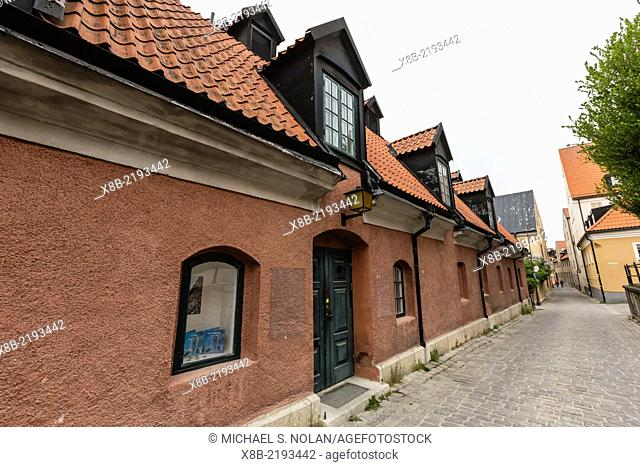Cottages and cobblestone streets in the capital town of Visby, Gotland Island, Sweden