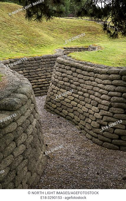 France, Arras, Vimy Ridge Memorial. Permanent display of World War 1 trenches. The main combatants were four divisions of the Canadian Corps