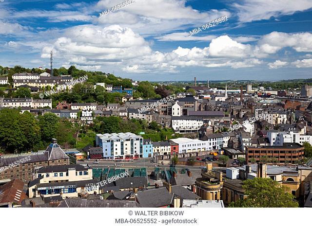 Ireland, County Cork, Cork City, elevated city view