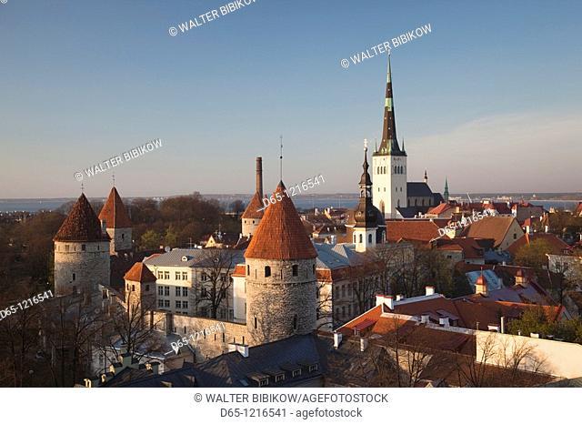 Estonia, Tallinn, Toompea area, elevated view of Old Town, sunset