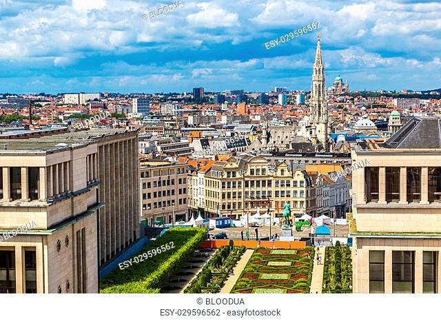 Cityscape of Brussels in a beautiful summer day