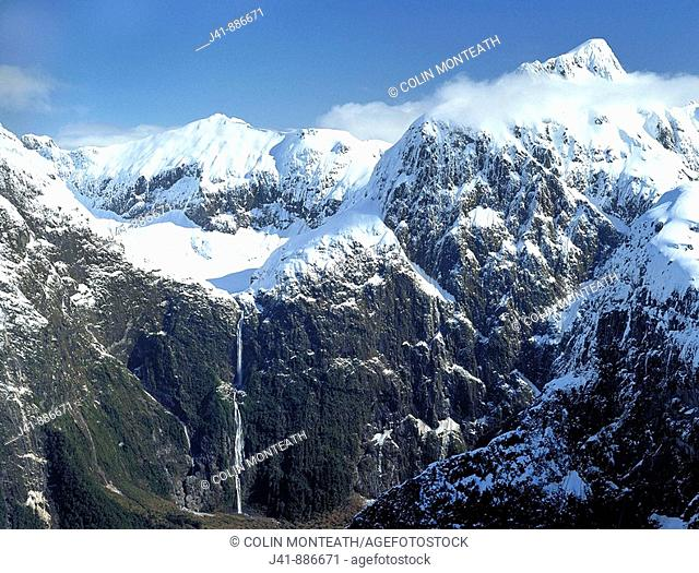 Sutherland Falls highest in New Zealand with Mount McKenzie aerial view Fiordland National Park New Zealand