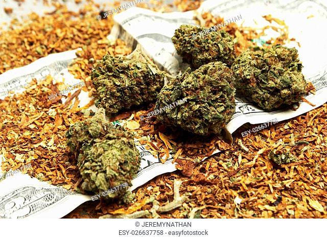 Marijuana Bud and Tobacco