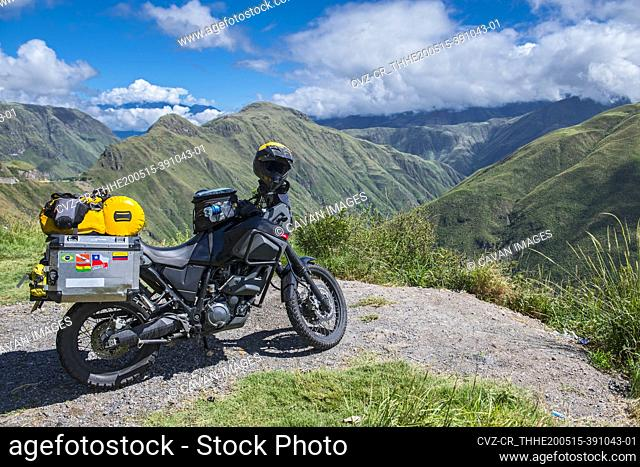 Touring adventure motorbike in the mountains of Colombia, Popayan