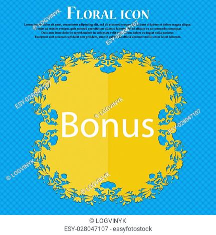 Bonus sign icon. Special offer label. Floral flat design on a blue abstract background with place for your text. Vector illustration
