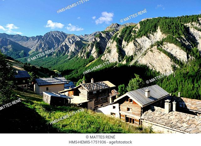 France, Hautes Alpes, Queyras Regional Natural Park, Saint Veran village, labelled Les Plus Beaux Villages de France (The Most Beautiful Villages of France)