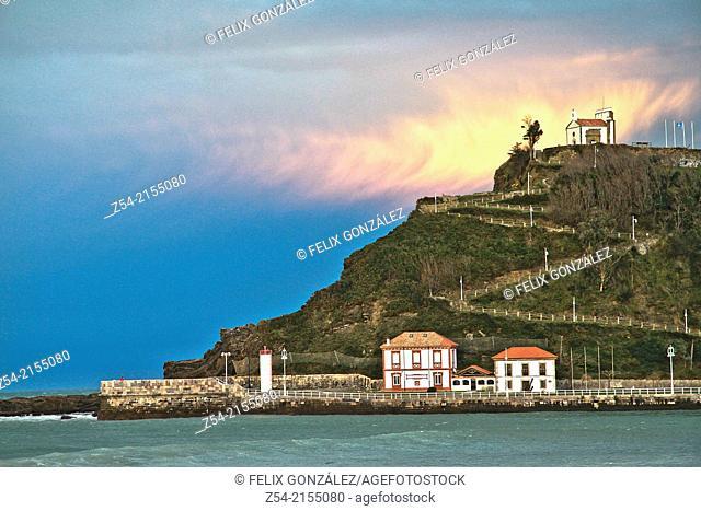Ribadesella harbor entance and La Virgen de la Guia hermitage, Asturias, Spain