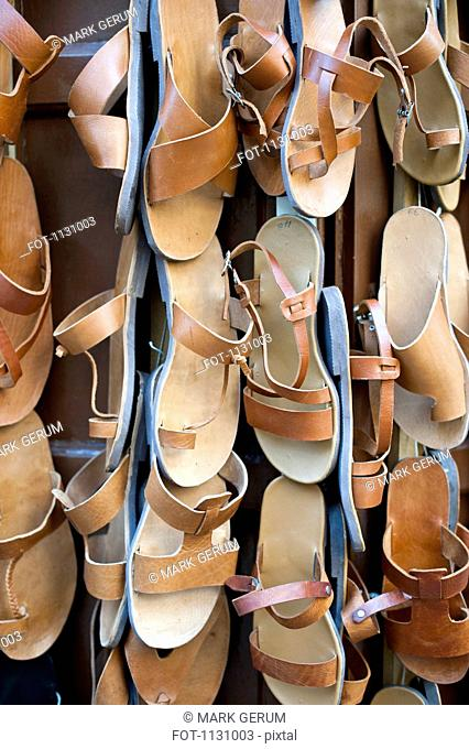 Traditional leather sandals for sale, Rhodes Town, Greece