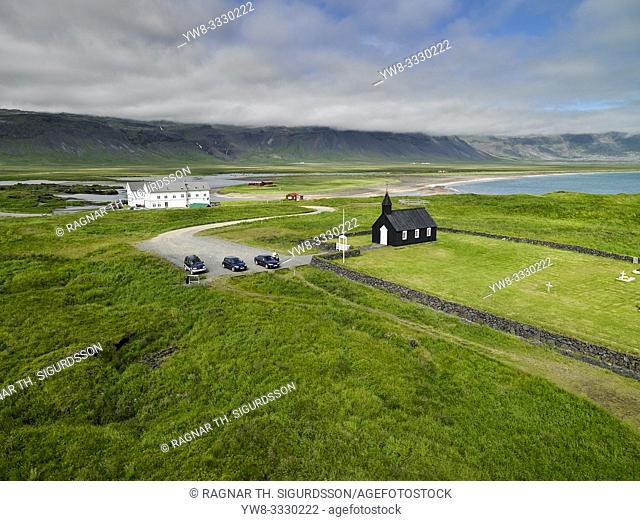 Budakirkja and Hotel Budir, Snaefellsnes Peninsula, Iceland