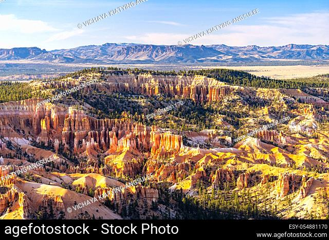 Landscape Hoodoos in Bryce Canyon National Park viewpoint in Utah United States. USA American National Park Landscape travel destinations and tourism concept