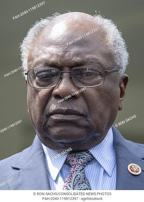 United States House Assistant Democratic Leader James Clyburn (Democrat of South Carolina) listens as Democratic members of the US House and Senate speak to...
